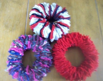3 Rescued Wool Fabric Wreaths Country Christmas Winter Home Decor Ornaments