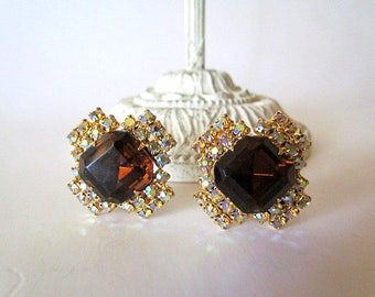 Vintage Aurora Borealis & Amber Rhinestone Clip Back Earrings