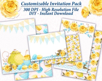 Tea Party Invitation Package Blank Downloadable