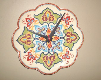 Multi Color Tapestry Plate Wall Clock, 9 Inch SILENT Kitchen Clock, Unique Wall Clock, Kitchen Wall Decor - 2326