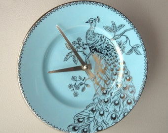 SILENT Soft Teal and Gold Peacock Wall Clock, 9 Inch Porcelain Plate Wall Clock, Peacock Home Decor, Unique Wall Clock  2387