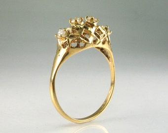 Vintage Estate Diamond Ring - 14K Yellow Gold - 0.15 Carats Diamond Total Weight