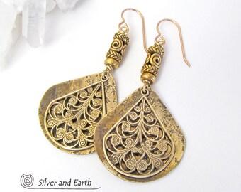 Brass Earrings Gold Dangle Earrings Egyptian Jewelry Artisan Handmade Bohemian Chic Earrings Greek Jewelry Exotic Ethnic Cleopatra Jewelry