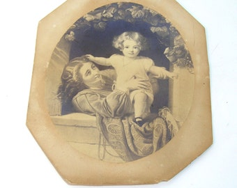Antique Print, Mother and Child