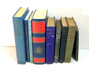 Blue Book Collection, Set of Nine, Library Decor, Home Decor, Instant Library