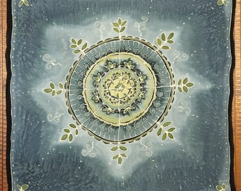 Seedling Mandala - Leafy Green on Teal Grey - Hand painted silk tarot cloth, altar cloth, square scarf - 25 x 25 inches, crepe de chine silk