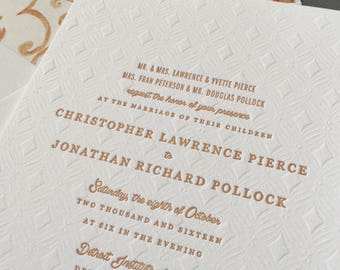 Blind Deboss Wedding Invitation, Gold Wedding Invitation, Vintage Wedding Invitation, Letterpress Wedding Invitation, Retro Invitation