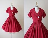 50s Dress - Vintage 1950s Dress -  Burgundy Red Cotton Full Skirt Shirtwaister w Carved Shell Button XS S - Merry Libations Dress