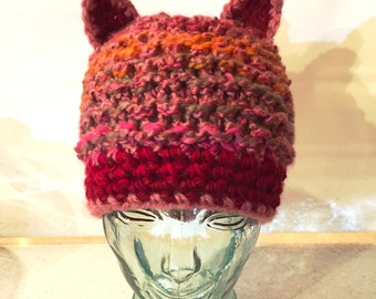Red Mix Pussy Hat, Pussyears Red Hat, Red Pink Wool Hat with Cat ears, Handmade in NYC,  Pussycat Hat in Red Mix