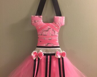pink paris theme tutu hair bow holder with rhinestone details