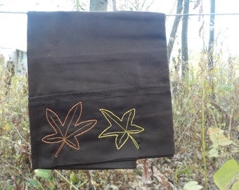 Sweetgum Leaves standard pillowcase- hand embroidered
