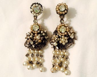 Robert Pearl Rhinestone Chandelier Earrings - Vintage Clip - Signed Collectible - Bridal