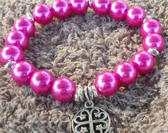 STRETCH Hot Pink Glass PEARLS Stretch Womens Teen Bracelet