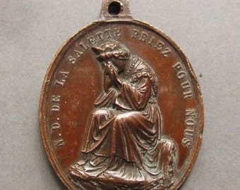 On Sale Our Lady Of La Salette Antique Religious Medal Weeping Virgin Mary Pendant  SS290