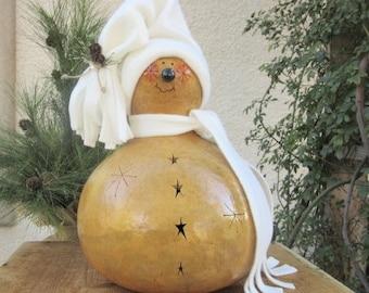 Christmas Gourd Large Snowman Winter Primitive Decoration