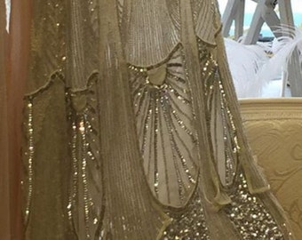 Amazing 1920's Flapper Great Gatsby, irridescent sequins, shimmering Wedding Dress, Beaded Deco dress