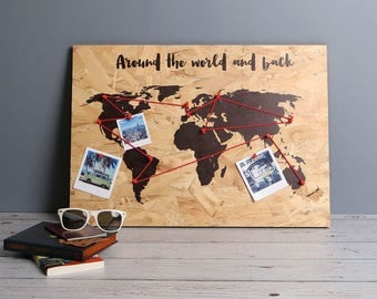 Personalised Quote World Map Print On Wood