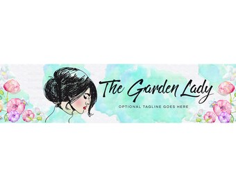 Blog Header - Blog Design - WordPress Header - Blogger Header - Website Header - Watercolor Banner - Lady Character Garden Lady