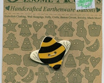 Ceramic BEE Button OZsome Accents Bumble Bee