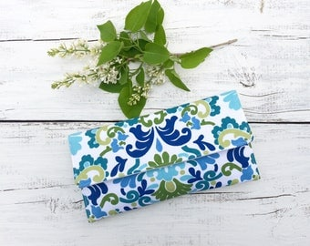 SALE, Floral Clutch, Navy Blue Clutch, Clutch Purse, Clutch Bag, Summer Clutch, Gift Idea, Aqua Blue Floral Clutch, Foldover Clutch
