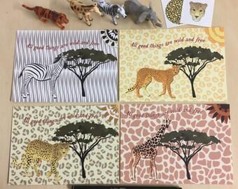 African Safari Postcards - Set of 4