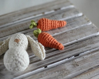 Easter Bunny and Carrot Photo Prop, Newborn prop, Easter set, carrot set, bunny toy, crocheted animals, chew toy, baby shower