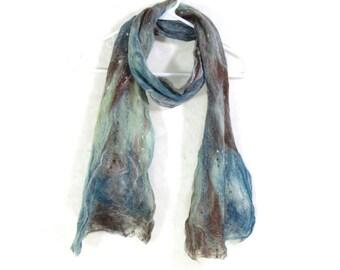Cobweb Felted Scarf Wool Scarf Winter Scarf Earthy Scarf Long Scarf Womens Scarf Winter Fashion Accessory in Aqua Blue Brown Gift for Mom