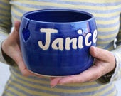 Made to Order - A customised hand thrown pottery yarn bowl with your own message