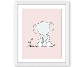 Elephant Nursery Art -- Elephant Dandelion Wish -- Nursery Decor -- Children Art Print -- Kids Wall Art -- Girl Nursery Art