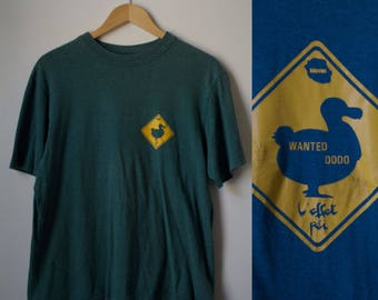 Vintage 80s Hunter Green Short Sleeve Duck Tee Size M