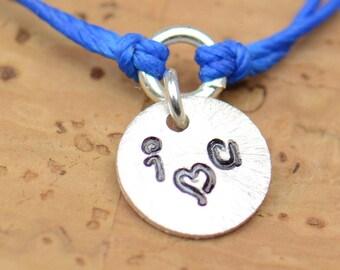 I Love You personalized  Bracelet - friendship sterling silver