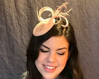 Oh What Fun it is to wear Pink Stars/English Inspired Pink Fascinator/ Pink Feather Fascinator/ Pink Sinamay Hat/ Handmade Pink Fascinator