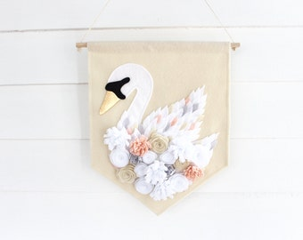 Swan Large Wall Hanging . Wall Banner . Wall Flag . Flower Nursery Wall Art . Swan Nursery Decor . Flower Nursery Decor . Rose