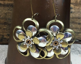 Mixed Metal Stacked Flower earrings