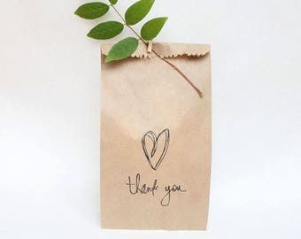 WEDDING favour bags, love stamp, wedding bags, thank you bags, love FAVOUR BAGS x 10