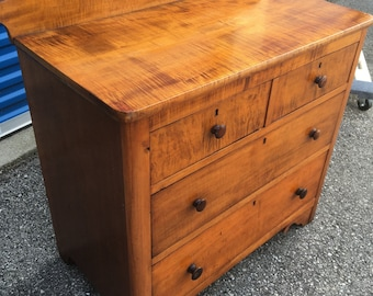 Early Ohio 1800's Tiger Maple Chest Dresser 4 Drawer 32.5w18d30h35h Shipping is not free