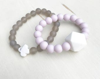 Mommy and Me Bracelet Set - Gray and Lilac -  Stretchy bracelet - Stone Bracelet - Silicone Bracelet - Kids Jewelry