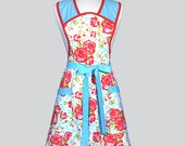 Womens Vintage Style Apron - Teal and Aqua Primrose Floral Cute Retro Full Coverage Womans Kitchen Apron with Pockets in Plus Size