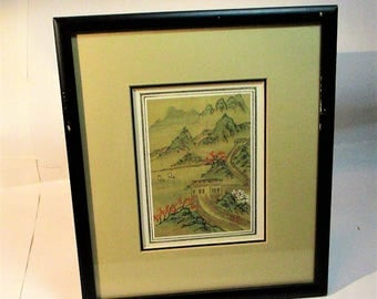Vintage Japanese Hand Painted Watercolor country scene on Silk from the Eda Varricchio Gallery