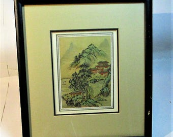 Vintage Japanese Watercolor Hand Painted on Silk Rural Mountain scene from the Eda Varricchio Gallery