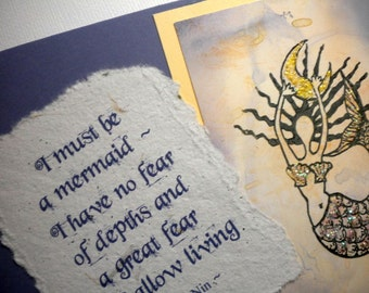 MY MERMAID ~ Mixed Media Collage Card with quote by Anais Nin