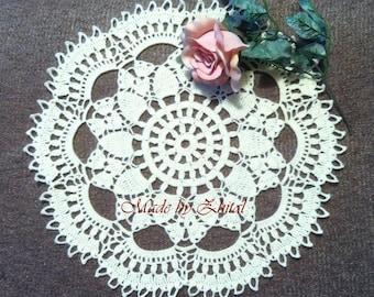D-28. Crochet Lace DOILY Ecru Crochet Doily Homedecor Crochet Original Crocheted Doily Wedding Doilies White Lace Doilies Made by Zhital