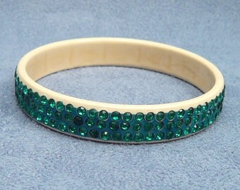 Deco Celluloid Rhinestone Bracelet 3 Rows Green Stones in Faux Ivory Bangle