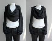 Hand Knitted Long Sleeves Charcoal Wrap Bolero Shrug Over Size With Scarf / Knitted Accessories / Shawl Christmas gift / for Women for her