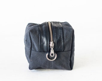 Cosmetic bag in dark blue canvas and leather, toiletry case accessory bag utility bag zipper pouch  - Cube