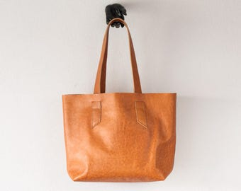 Raw edge brown tote shoulder bag, purse shopper bag shoulder womens large market bag unlined leather tote  - Calisto bag
