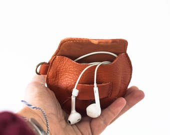 Brown leather case for earphones, earbuds pouch headphone holder cable holder organizer earphone keeper coin purse