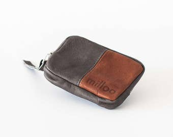 SALE Leather coin purse in grey and brown, small zipper wallet zipper phone case money bag - The Myrto Zipper pouch