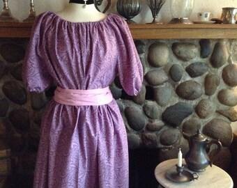 Reenactment Trek Civil War Day Dress Pioneer Colonial Skirt Print Blouse and Sash