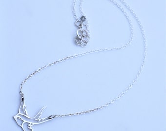 Soaring Bird Necklace Sterling Silver Sixteen Inches